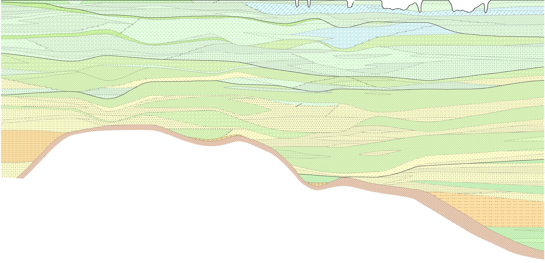 《上海市第四纪地层与沉积环境》图书封面修饰 该书为专业性较强的学术性著作,封面构思已有,需进一步修饰完善。 总体构思:封面图片由两部分组成,上部为上海市的标志性建筑,或其他能代表上海的标志性东东;下部为地下的土层结构,不同的层次代表了不同的土性,颜色代表了各土层的沉积环境。现本人只是将两个图片捏合在了一起,感觉还不够理想,希望各位能帮我进行修饰完善。主要要求和想法如下: 1、上面的那张陆家嘴建筑物的图片,内容和色调都感觉不满意。希望能用一张陆家嘴各主要代表性建筑物的轮廓线,或素描图之类的,简单勾勒出线条的