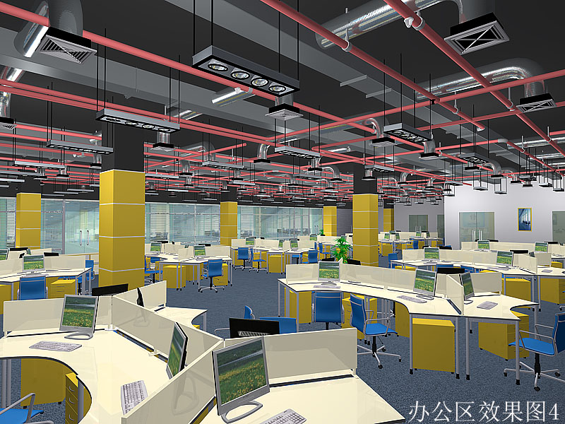 会议室效果图 力天科技办公楼内部效果图设计