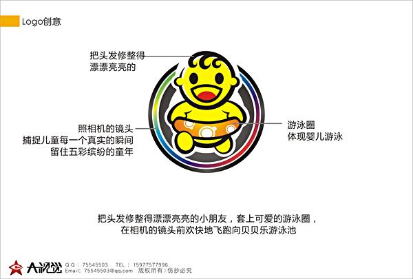 儿童理发店设计logo 门头 名片 标准字 投